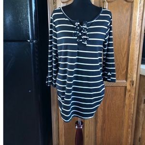 Rouge Striped Lace Up Neck Top Size 1X